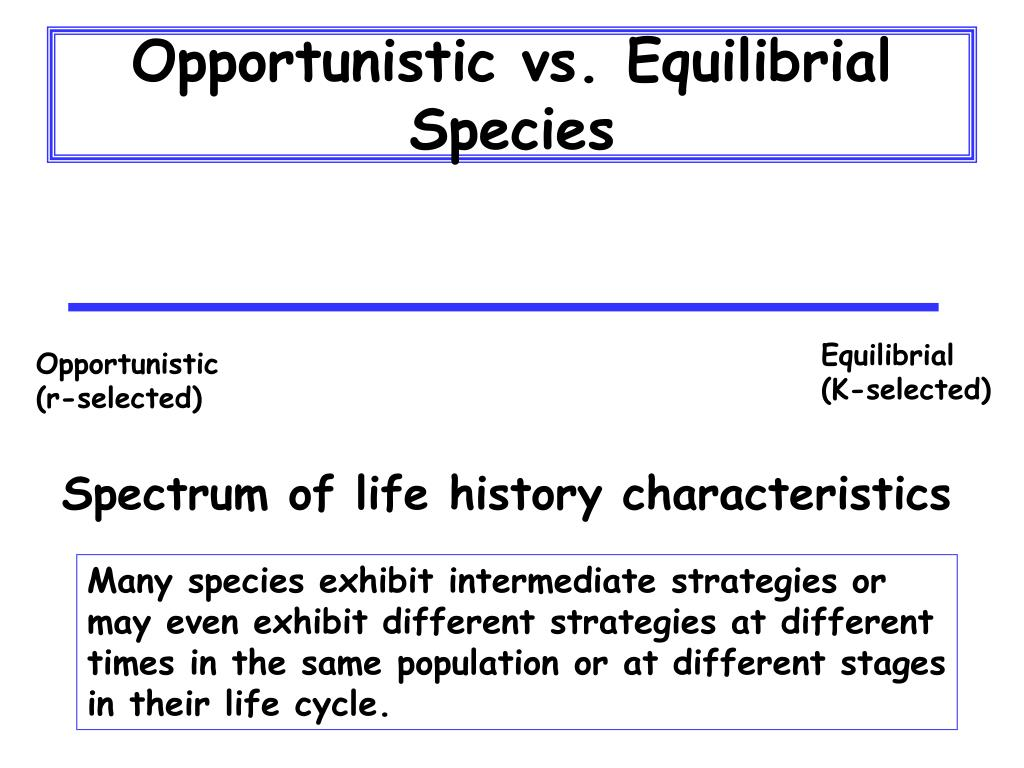 Opportunistic vs. Equilibrial Species