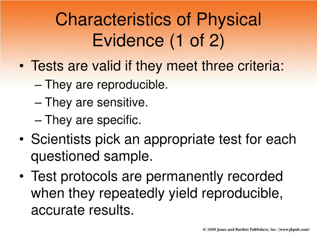 Characteristics of Physical Evidence (1 of 2)