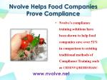nvolve helps food companies prove compliance