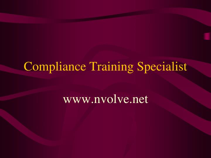 Compliance training specialist
