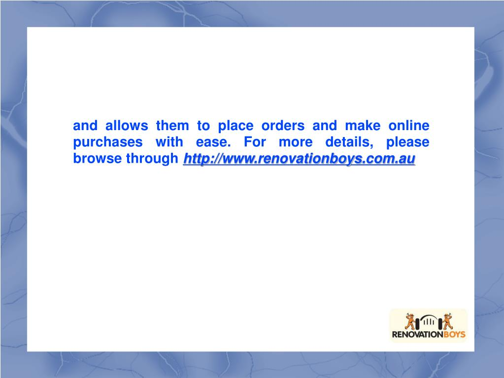 and allows them to place orders and make online purchases with ease. For more details, please browse through