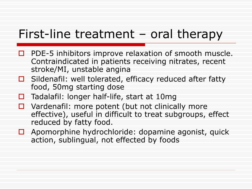 First-line treatment – oral therapy