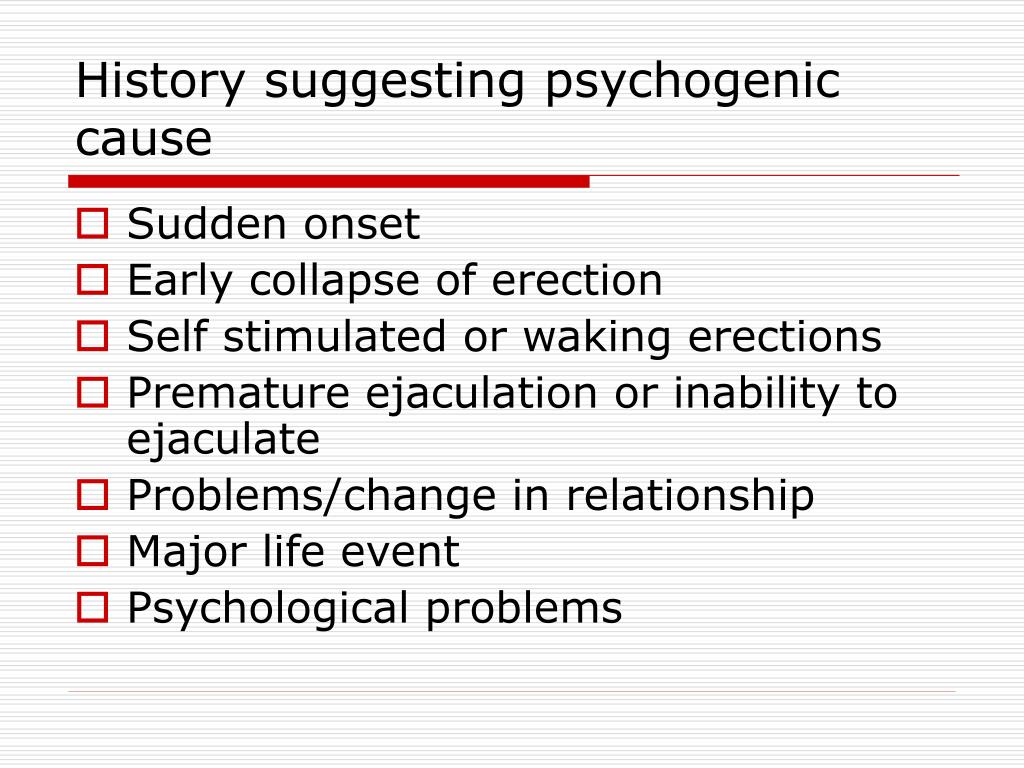 History suggesting psychogenic cause