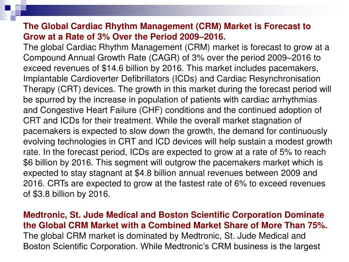 The Global Cardiac Rhythm Management (CRM) Market is Forecast to Grow at a Rate of 3% Over the Perio...