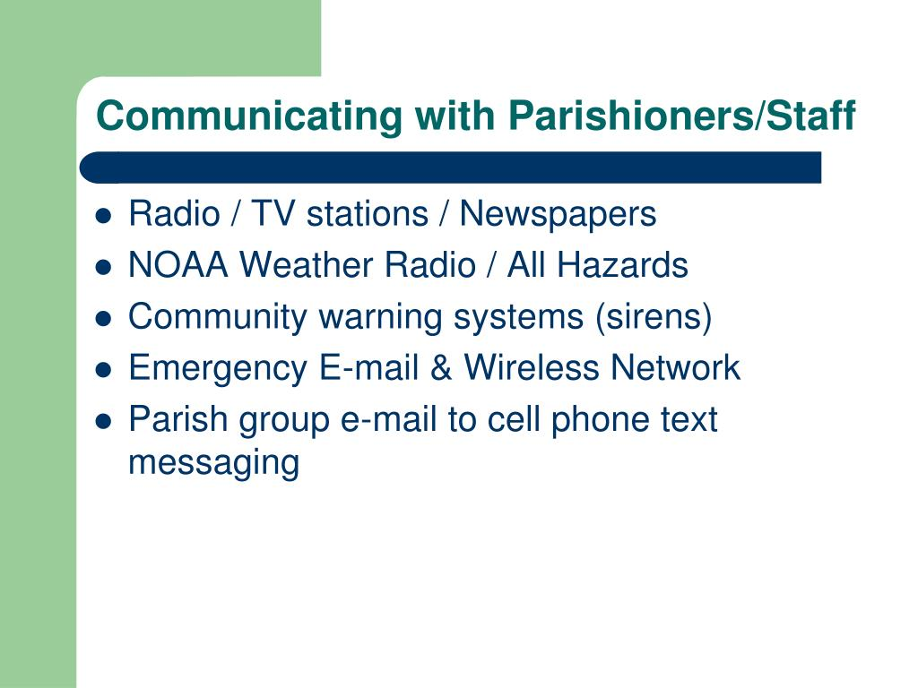 Communicating with Parishioners/Staff