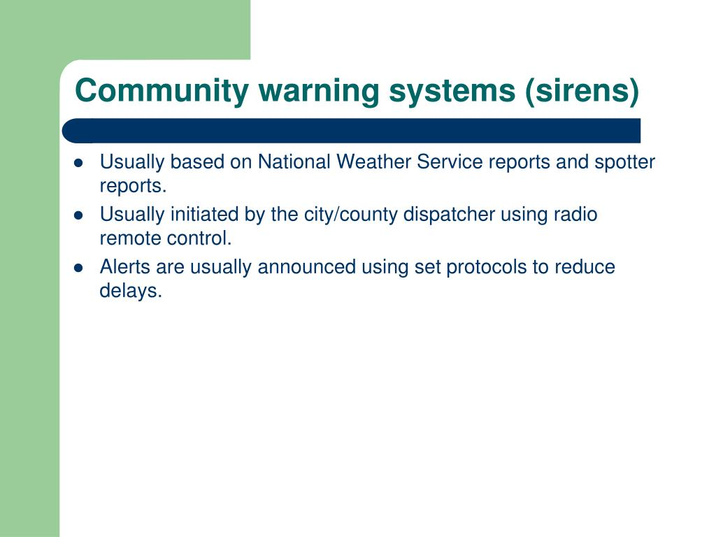 Community warning systems (sirens)