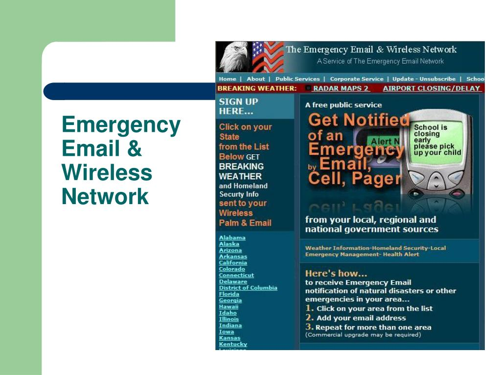 Emergency Email & Wireless Network