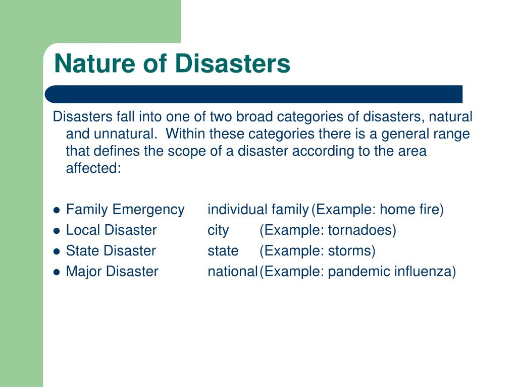 Nature of Disasters