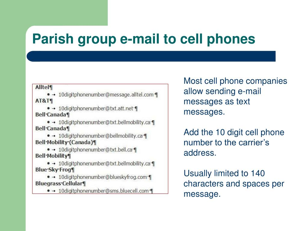 Parish group e-mail to cell phones
