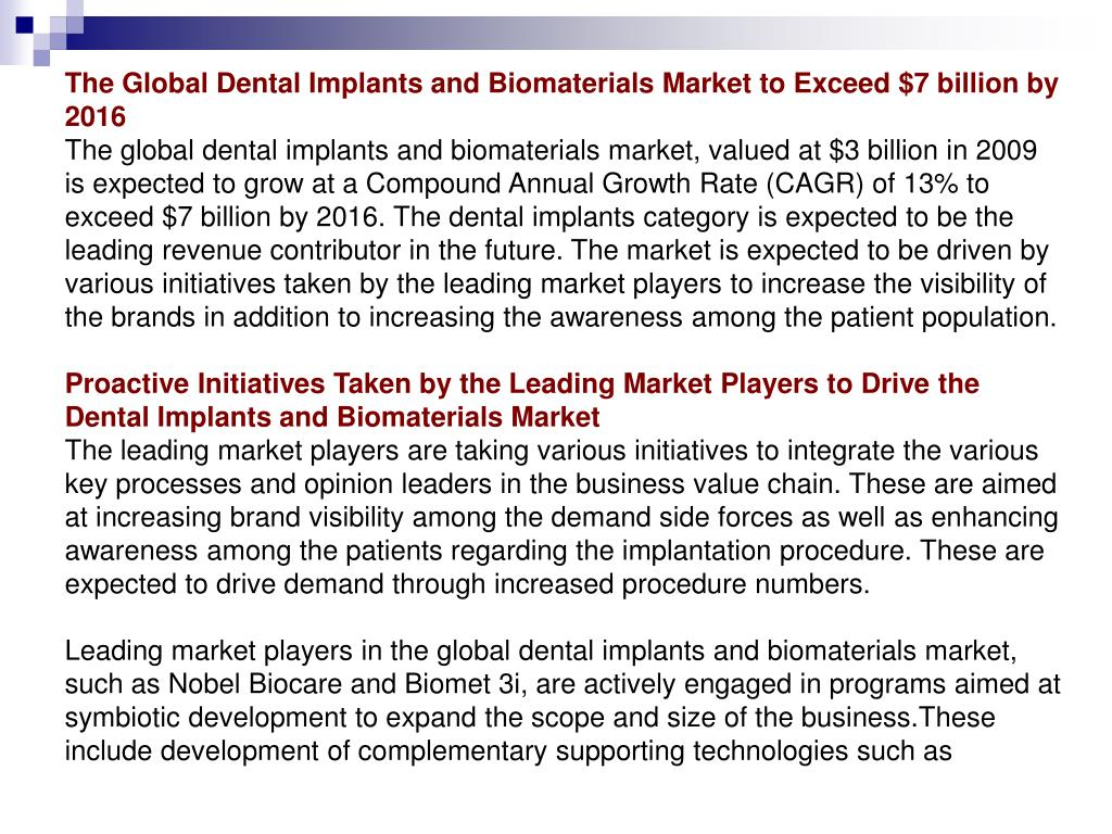 The Global Dental Implants and Biomaterials Market to Exceed $7 billion by 2016