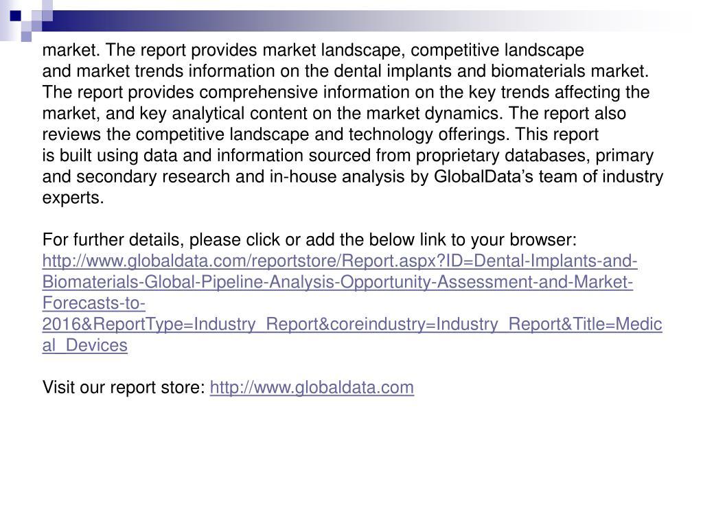 market. The report provides market landscape, competitive landscape