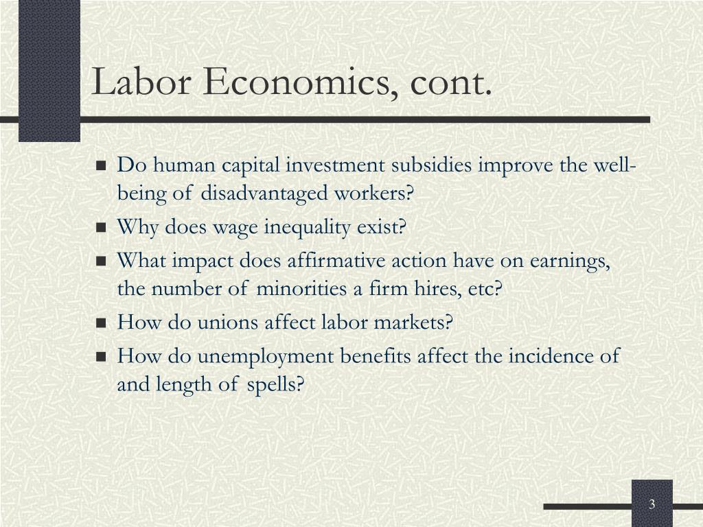Labor Economics, cont.