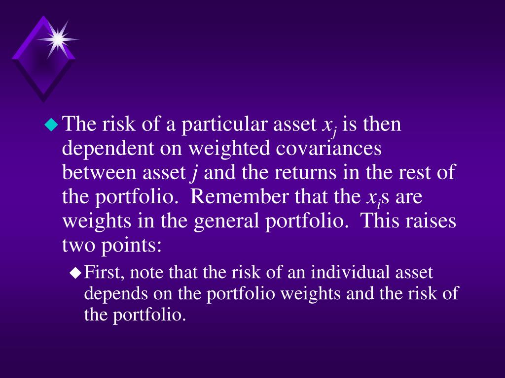 The risk of a particular asset