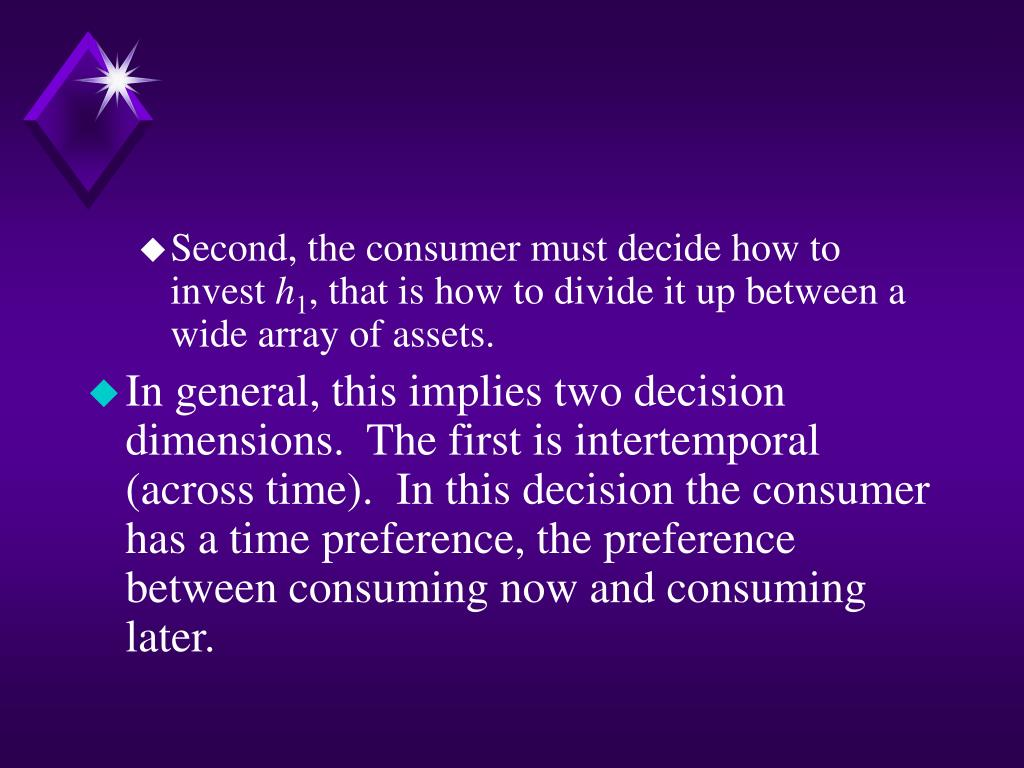 Second, the consumer must decide how to invest