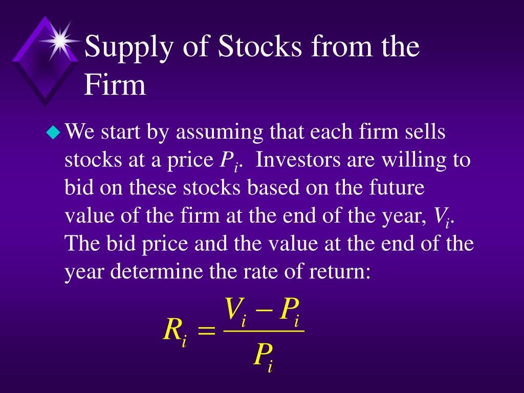 Supply of Stocks from the Firm