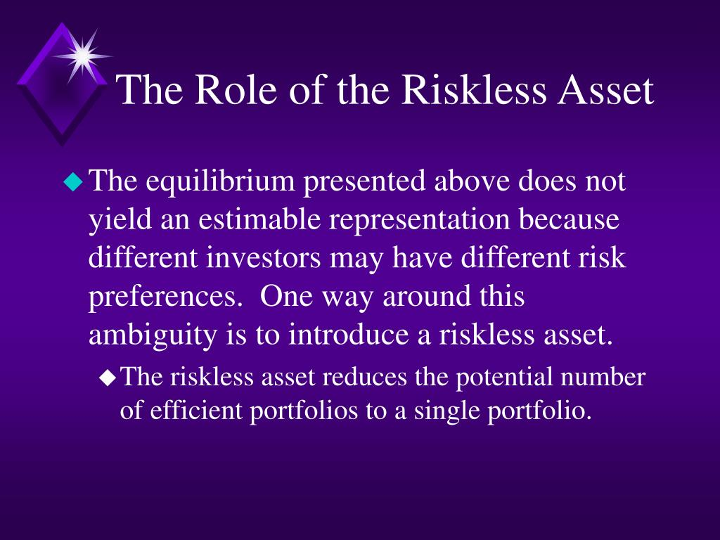 The Role of the Riskless Asset