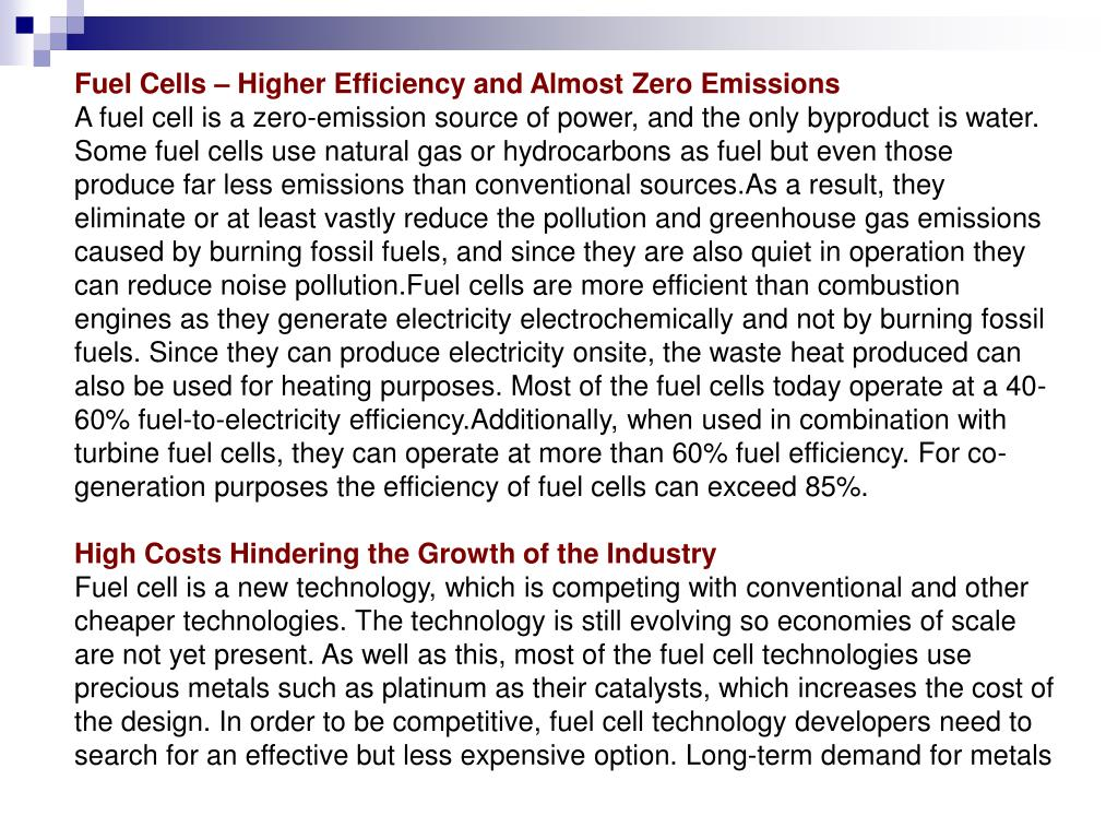 Fuel Cells – Higher Efficiency and Almost Zero Emissions