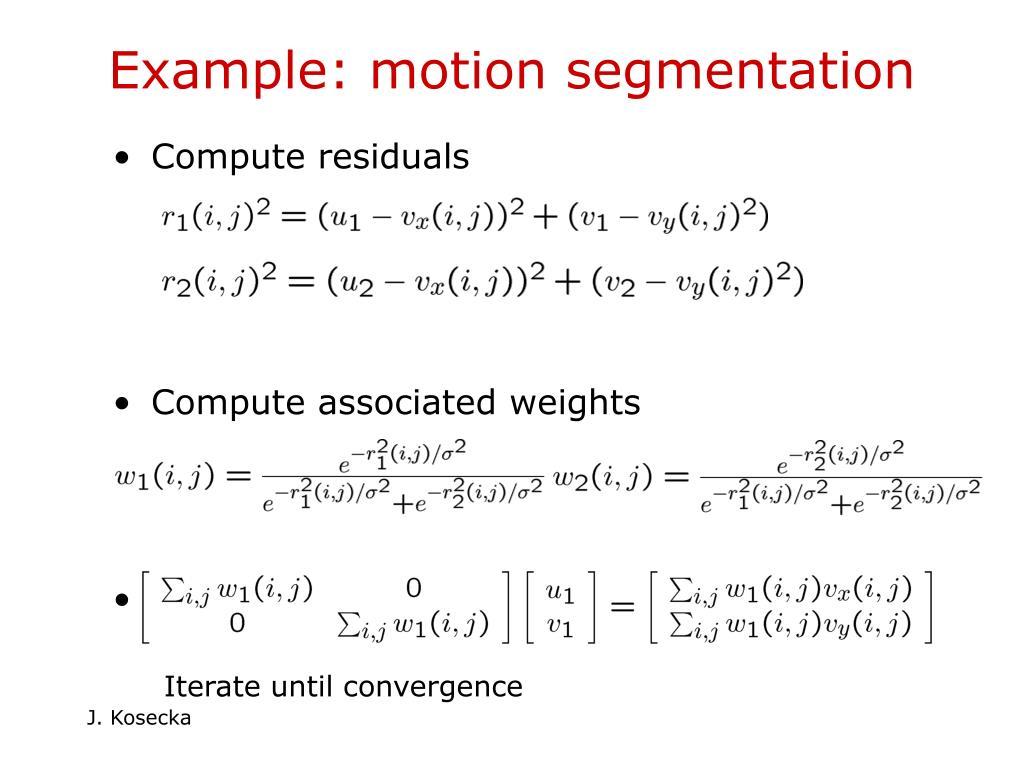 Example: motion segmentation
