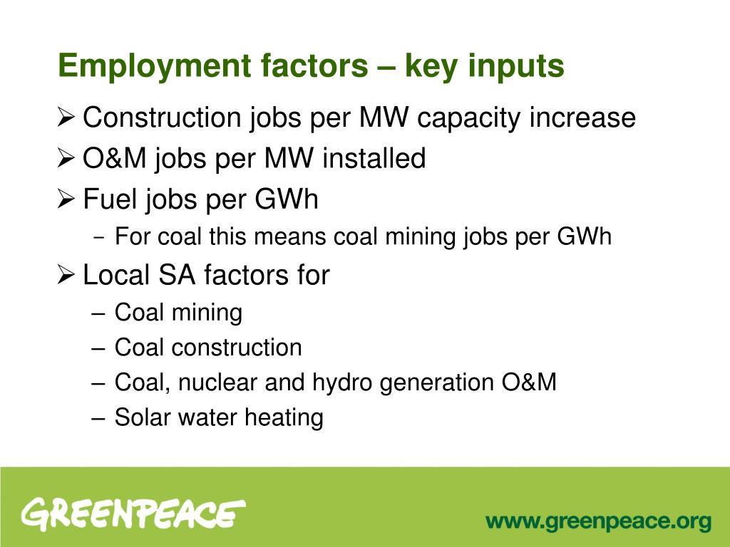 Employment factors – key inputs