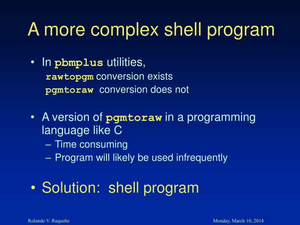A more complex shell program