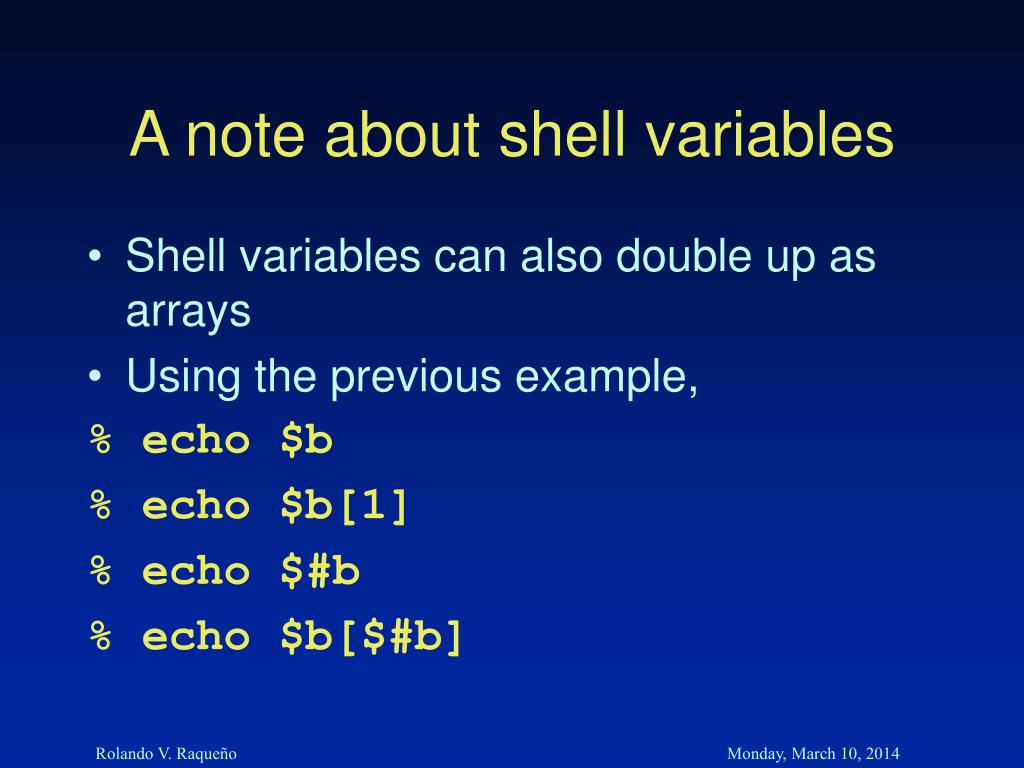 A note about shell variables