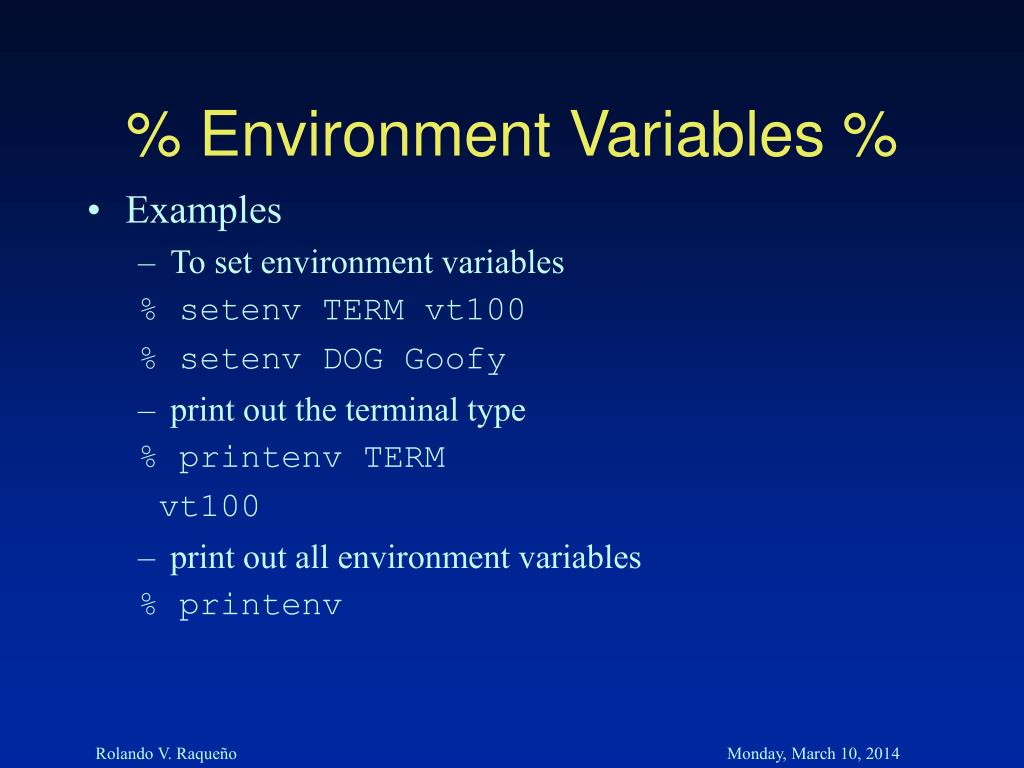 % Environment Variables %