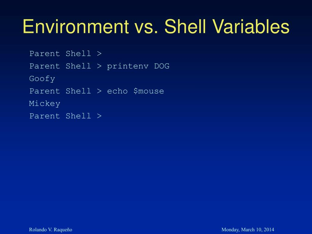 Environment vs. Shell Variables