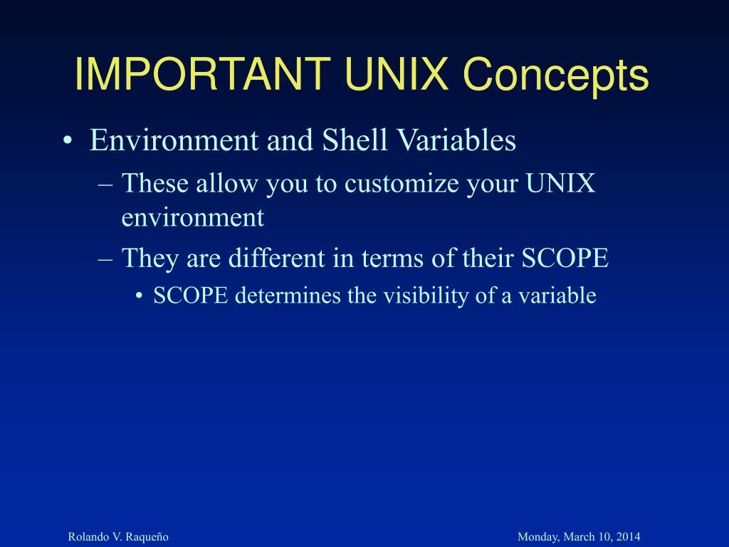 IMPORTANT UNIX Concepts