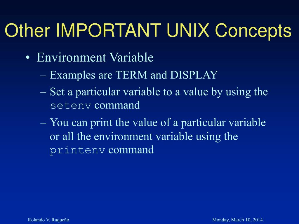 Other IMPORTANT UNIX Concepts