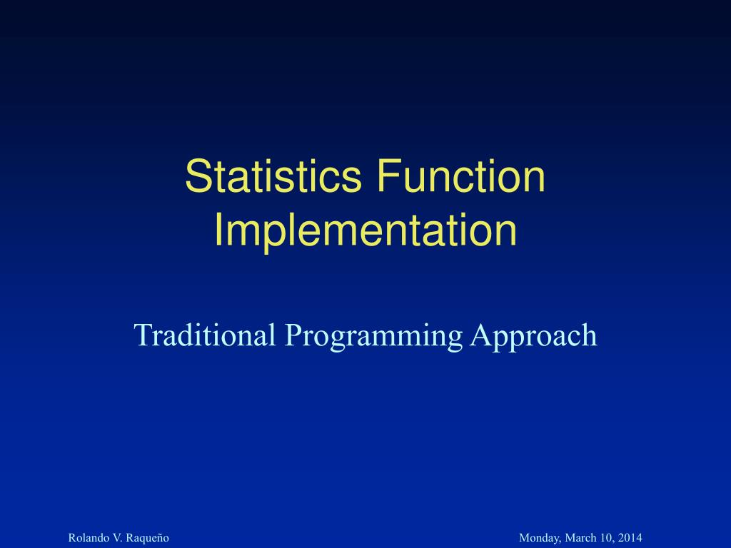 Statistics Function Implementation
