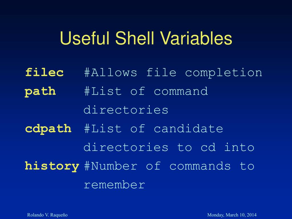 Useful Shell Variables