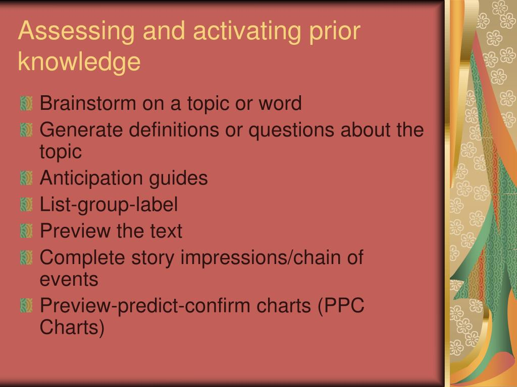 Assessing and activating prior knowledge