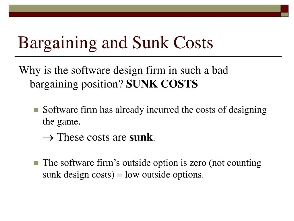 Bargaining and Sunk Costs