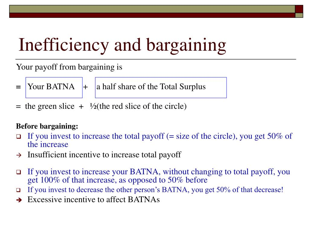 Inefficiency and bargaining
