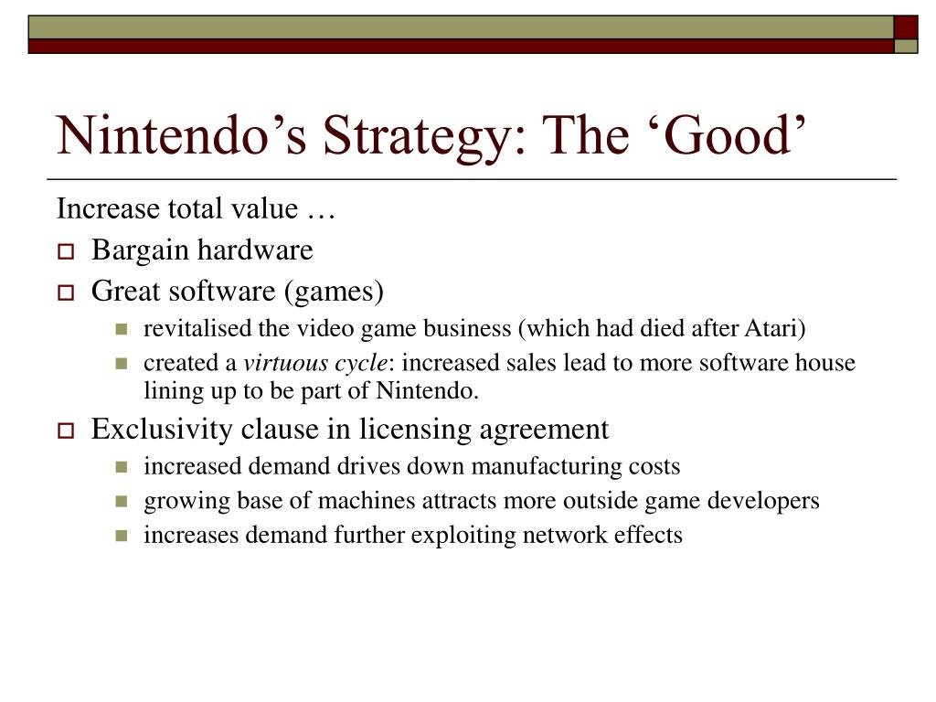 Nintendo's Strategy: The 'Good'
