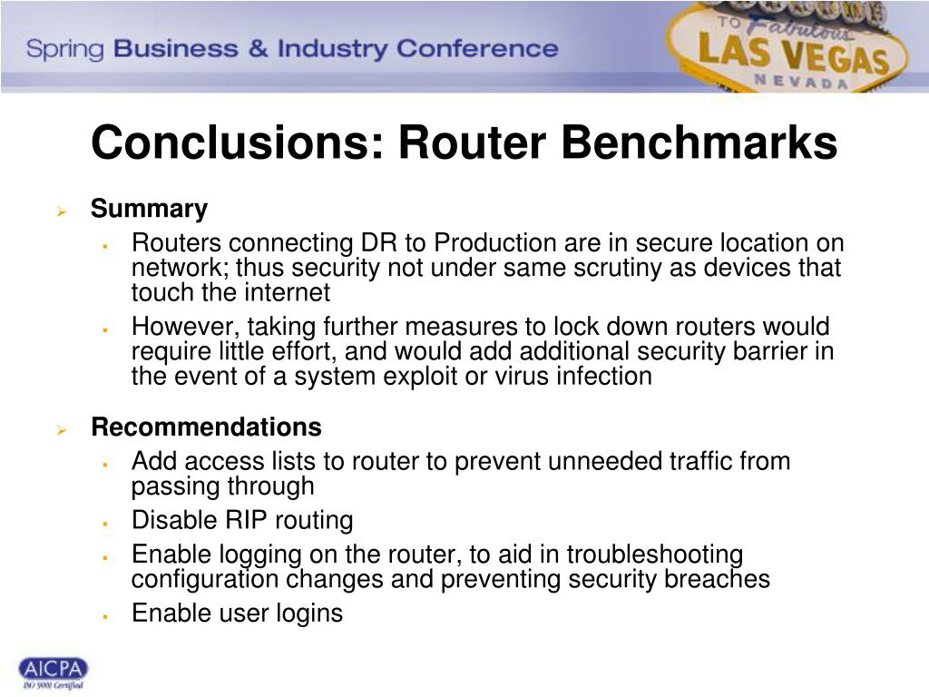 Conclusions: Router Benchmarks