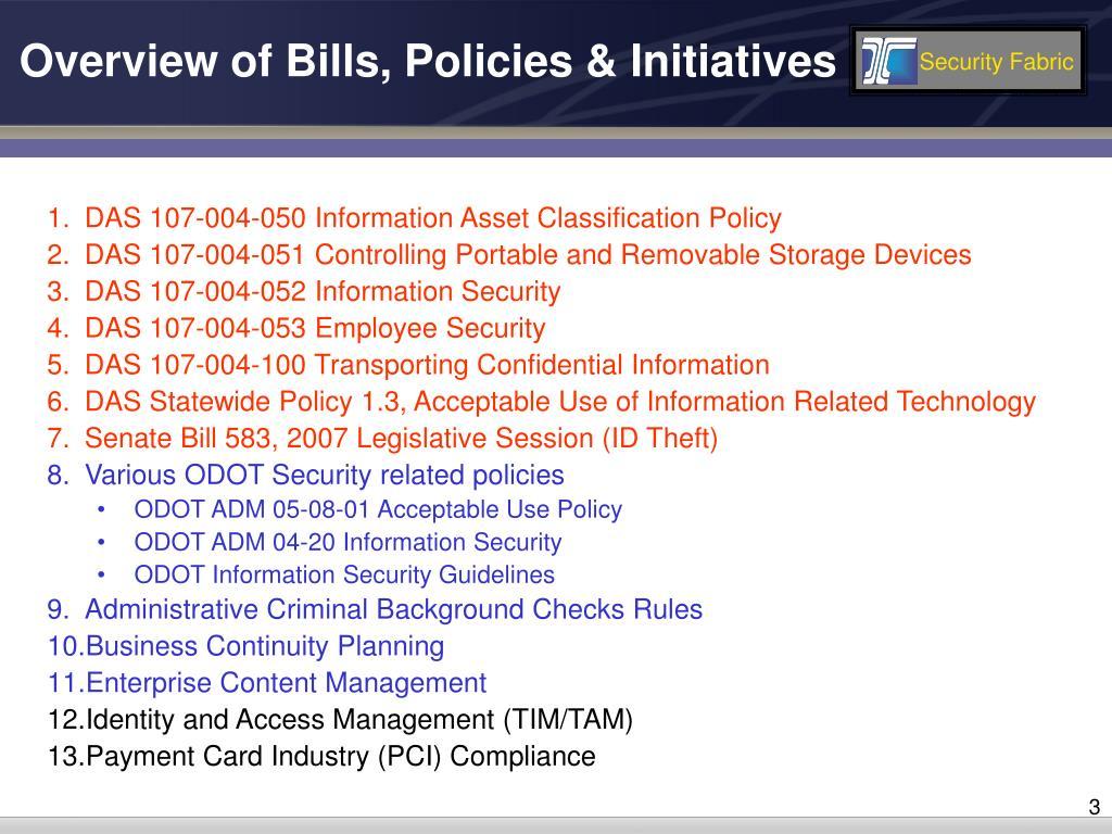 Overview of Bills, Policies & Initiatives