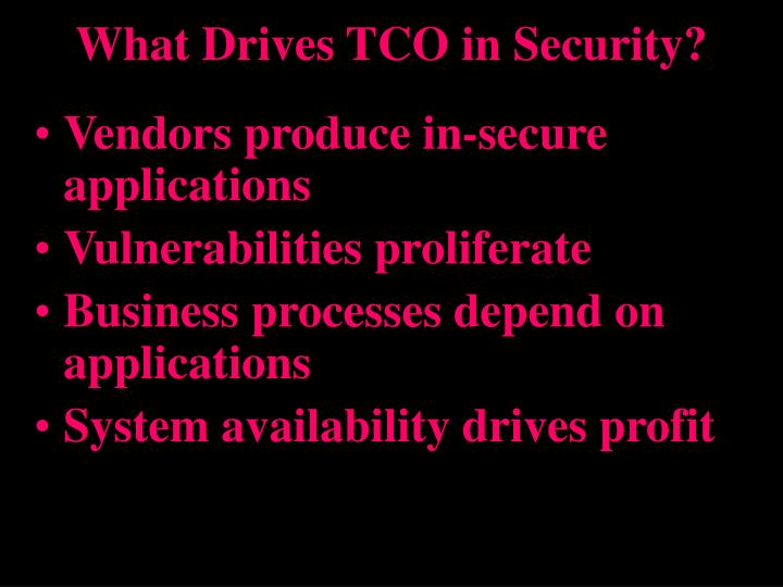 What drives tco in security