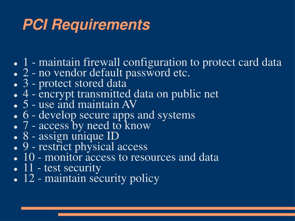 PCI Requirements