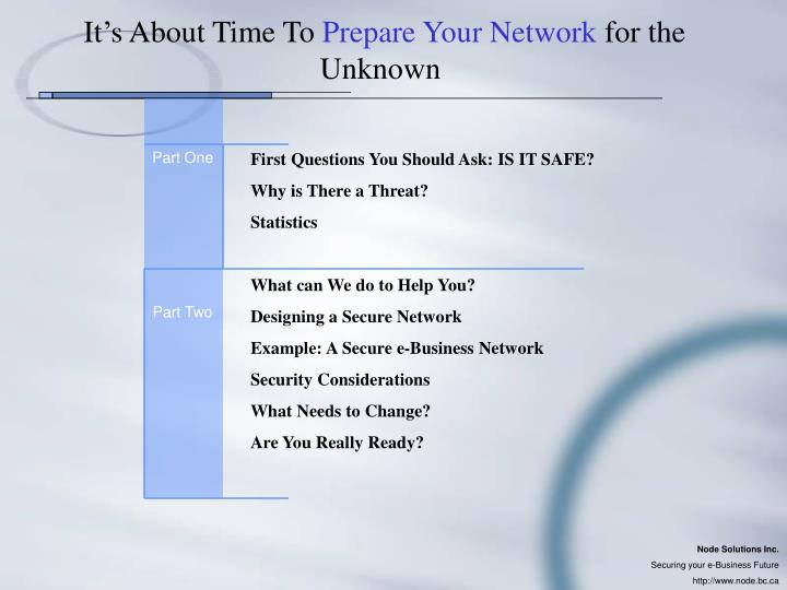 It s about time to prepare your network for the unknown