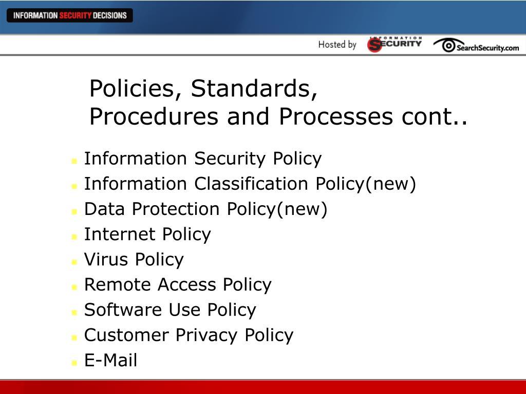 Policies, Standards,