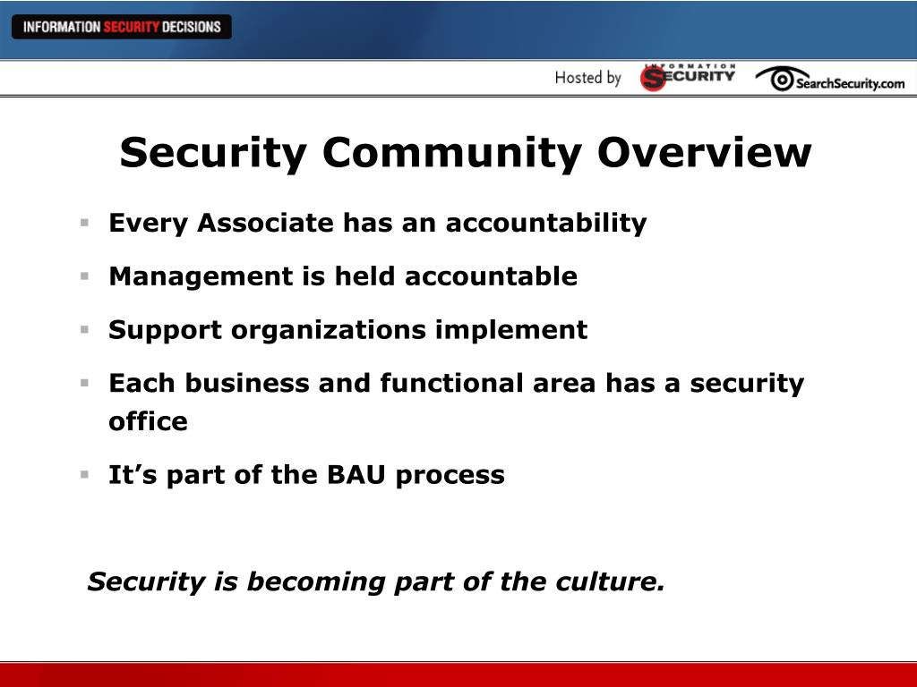 Security Community Overview