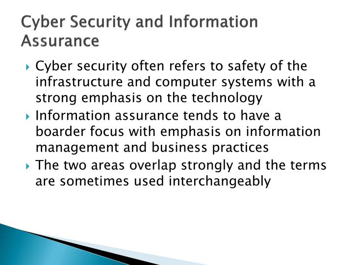 Cyber security and information assurance