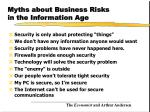 myths about business risks in the information age