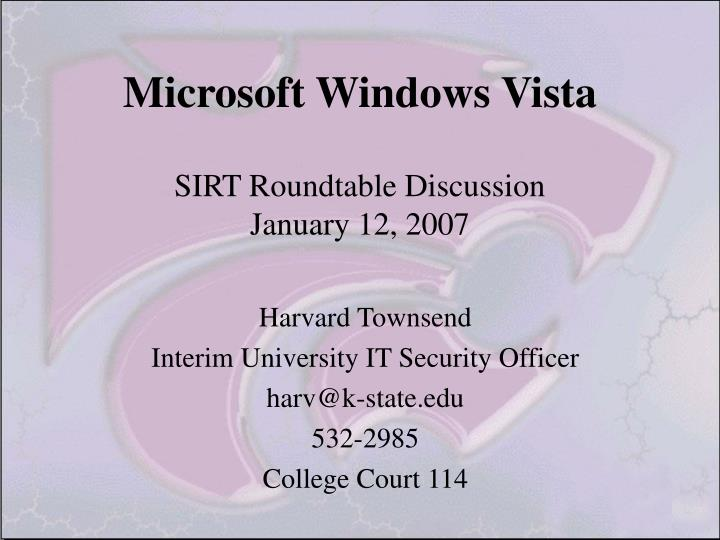 Microsoft windows vista sirt roundtable discussion january 12 2007