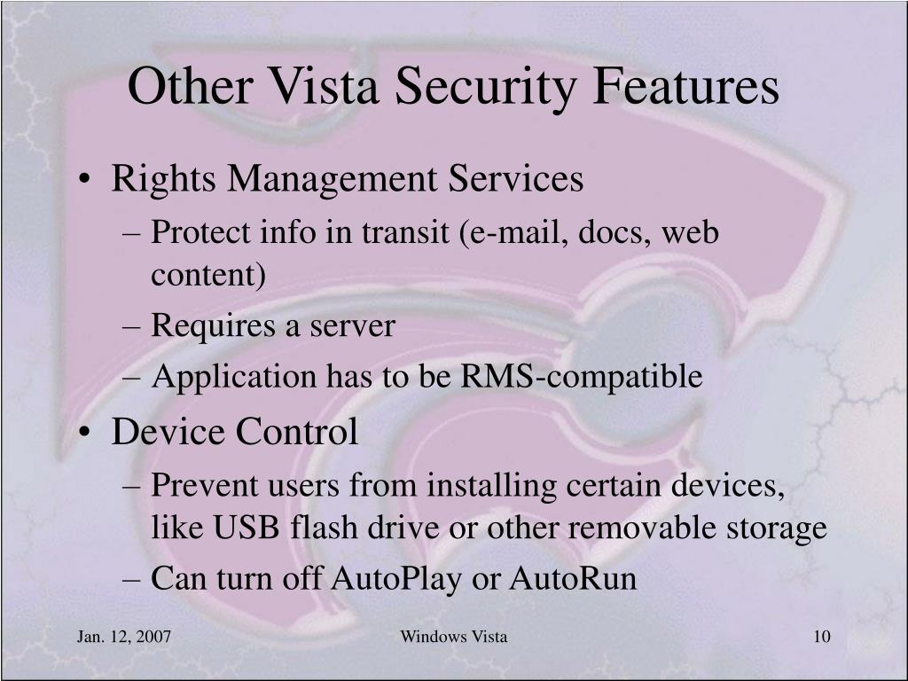 Other Vista Security Features