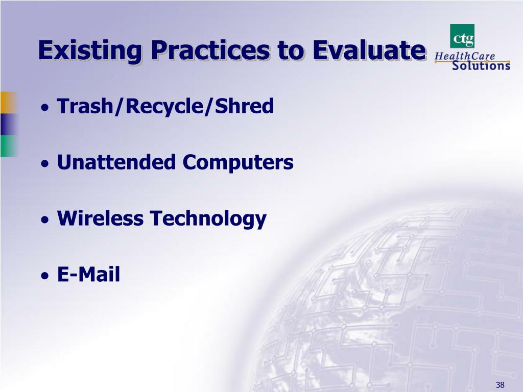 Existing Practices to Evaluate