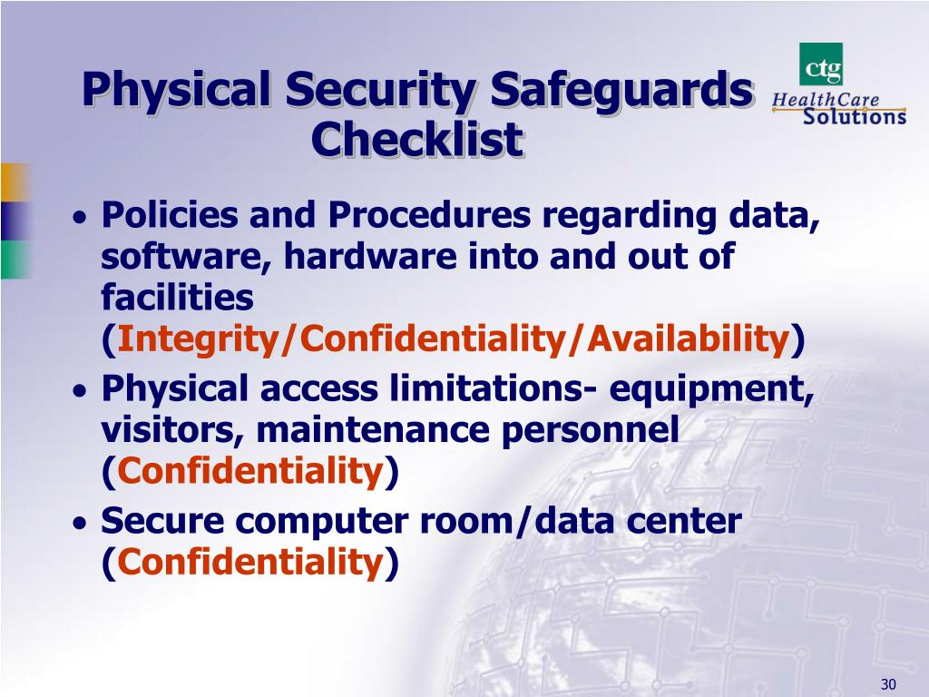 Physical Security Safeguards  Checklist
