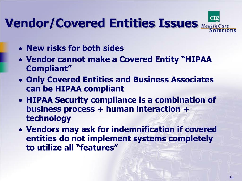 Vendor/Covered Entities Issues