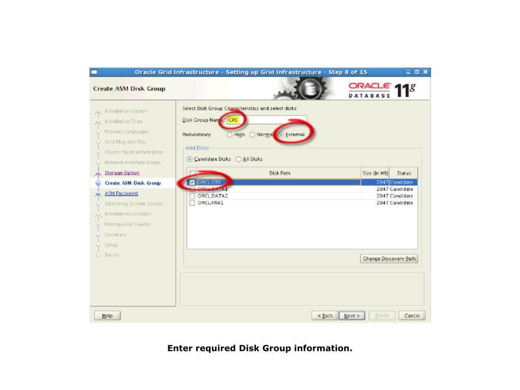Enter required Disk Group information.